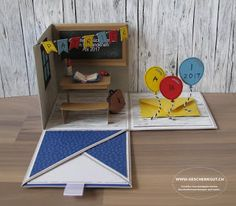 Abitur Geschenkbox Explosionsbox Überraschungsbox Geldgeschenk Gutschein Surprise Box Gift, Diy Gift Box, Diy Box, Graduation Scrapbook, Graduation Crafts, Card In A Box, Pop Up Box Cards, Fancy Fold Cards, Folded Cards