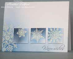 pretty winter card with sponging around & over embossed snowflakes and a design using inchies - Emboss Resist technique