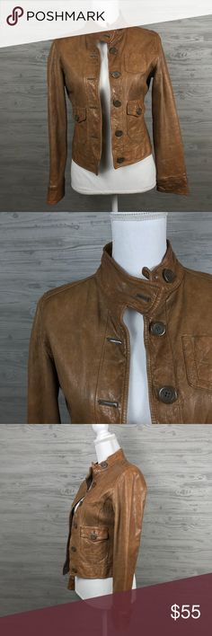 GAP | Camel Moto Leather Jacket Gap Camel Brown Long Sleeve Moto Leather Jacket has a buttery leather vintage feel.  Biker style jacket, short cut. Also has a super tiny spot on the right side. Designed to have a worn look. Very soft 100% leather!!  ***MEASUREMENTS COMING SOON GAP Jackets & Coats