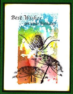 Nature flowers: art journey, bg: acrylic block, DI, Marlies' Stempels: