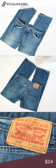 Levi 505 Men's Jeans Such a perfect pair jeans to pair with a really cute pair of boots! I'm open to offers on this item. 99% cotton 1% elastin. W 16. L 39.  Size 32/32. Stock 1–20 Levi's Jeans Bootcut