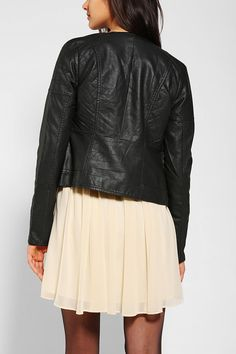Members Only Quilted Vegan Leather Moto Jacket