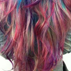 rainbow hair pink purple blue green blonde colorful dye