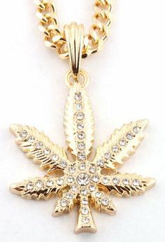Small Gold Iced Out Marijuana Pendant with a 24 Inch Miami Cuban Chain Necklace $11.95 + $3.95 shipping --- http://www.amazon.com/gp/product/B008XMT47M/ref=as_li_ss_tl?ie=UTF8&camp=1789&creative=390957&creativeASIN=B008XMT47M&linkCode=as2&tag=420life-20