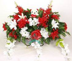 XL Beautiful Valentine's Day Spring Mixture Mixture Cemetery Tombstone Saddle Arrangement From Crazyboutdeco by Crazyboutdeco on Etsy Grave Flowers, Silk Flowers, Mardi Gras Wreath, Grave Decorations, Silk Flower Arrangements, Floral Supplies, Party Entertainment, Wedding Favors, Christmas Wreaths