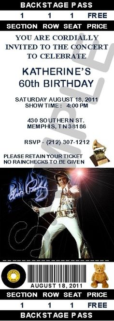 12 Personalized Elvis Presley Party Invitations  by R3DOXIES, $12.99