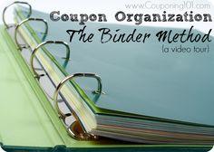Coupon organization idea - a binder with baseball card inserts.