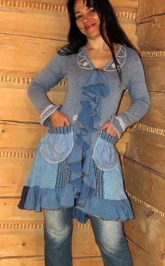 Romantic boho blue sweater dress tunic by jamfashion on Etsy, $87.00