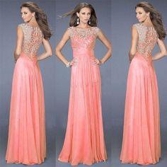 Vestido largo, de fiesta, boda, encaje floral, noche, rosa, elegante.