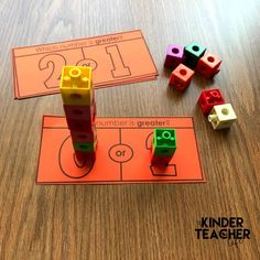 Freebie Included Number Towers – Students build the number and compare quanities. Numbers Kindergarten, Kindergarten Math Activities, Numbers Preschool, Math Numbers, Math Classroom, Math Games, Preschool Activities, Decomposing Numbers, Teaching Numbers