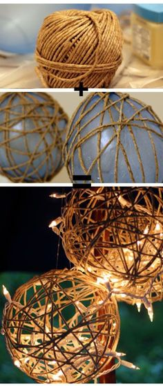 Laternendeko selber basteln aus Schnur und Luftballons Make your own lantern decoration out of twine Outdoor Christmas, Christmas Crafts, Christmas Ornaments, Christmas Lanterns Diy, Christmas Lights Outdoor Trees, Burlap Christmas Decorations, Christmas Ideas, Fall Lanterns, Christmas Garden