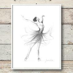 Ballerina-Print Print Ballerina Skizze von EwArtStudio auf Etsy