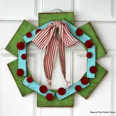 Scrap Wood Wreath: 10 Tutorials and Christmas Decorating Ideas - See all 10: http://www.familyhandyman.com/smart-homeowner/10-tutorials-and-christmas-decorating-ideas