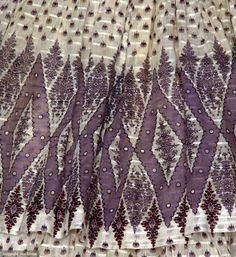 PURPLE PRINT VOILE DRESS, c. 1850