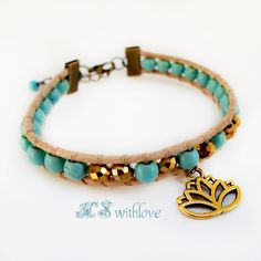 Golden Lotus Flower Bracelet Turquoise Bracelet by MSwithlove