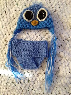 Baby Blue Bird earflap hat and diaper cover 0 3 by BrittTremor, $20.00