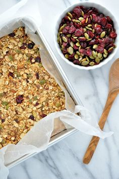 Packed with sweet, salty, chewy, and crunchy ingredients, these clean eating Fall Harvest Granola Bars are a make-ahead snack to keep on hand.