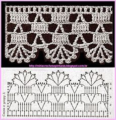 This is a gorgeous super-chunky knit stitch crochet scarf. This pattern essentially utilizes the double crochet or double crochet (if you are in the UK) stitches in crochet that will give the chunky feel of the finished product. Crochet Boarders, Crochet Lace Edging, Crochet Motifs, Crochet Diagram, Crochet Stitches Patterns, Crochet Chart, Thread Crochet, Crochet Designs, Crochet Doilies