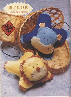Felt lion and hippo. Felt Fabric, Fabric Dolls, Animal Templates, Felt Material, Felt Patterns, Felt Toys, Handmade Felt, Wet Felting, Stuffed Animal Patterns