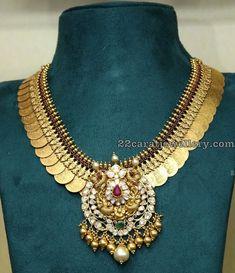 Kasu Necklace with Peacock Diamond Pendant Silver Jewellery Indian, Gold Jewellery Design, Beaded Jewelry, Silver Jewelry, Temple Jewellery, Jewlery, India Jewelry, Diamond Jewellery, Handmade Jewellery