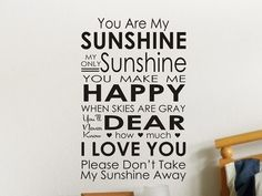 You Are My Sunshine Words Decal by Vgwalldecals - Cheerful home décor for the walls. #walldecals #homedecor #funkthishouse
