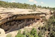 A ranger led tour has departed Cliff Palace in Mesa Verde National Park. All is quiet until the next one arrives.