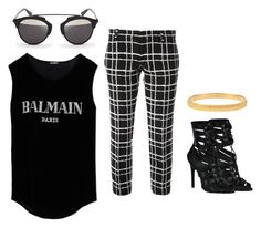 """""""cool look"""" by abbey-ceee ❤ liked on Polyvore featuring Balmain, Christian Dior, Susan Caplan Vintage and Dsquared2"""