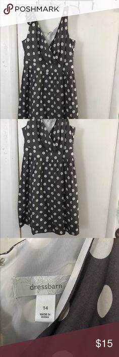 grey/white polka dot dress sits below knee Dresses