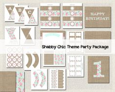 Shabby Chic Girls Printable Party Package by PixiePerfectParties 1st Birthday Girls, Birthday Parties, Shabby Chic Theme, Party Package, Party Kit, Party Printables, Party Themes, Gallery Wall, Packaging