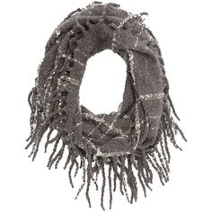 Charlotte Russe Fringed Infinity Scarf ($5) ❤ liked on Polyvore featuring accessories, scarves, gray combo, tube scarves, plaid scarves, plaid infinity scarf, infinity scarves and loop scarf