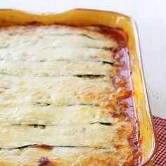 Zucchini Lasagna — make with pesto and chicken instead of marinara and beef