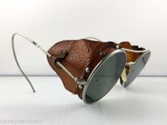 3dbe4731079 Vintage Steampunk Welding WWII Flying Motorcycle Leather Sided Goggles