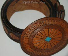 Vintage Leather Belt Western Southwest