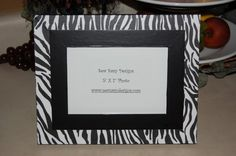 Animal Print Zebra Wooden Picture Frame with any color Interior Border-5x7 on Etsy, $24.95