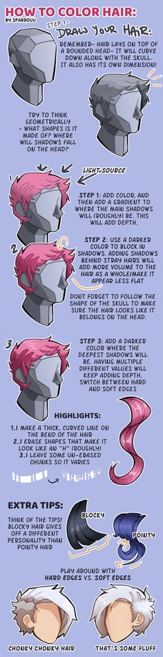 """drawingden: """"How to Color Hair (tutorial) by SPARROUU Support the artist and buy them a coffee! Digital Painting Tutorials, Digital Art Tutorial, Art Tutorials, Drawing Poses, Drawing Tips, Art Reference Poses, Drawing Reference, Poses Manga, Doodle Drawing"""