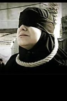 """IRAN: This woman was raped and became pregnant. When she told the authorities she was asked to provide 4 witnesses.    End result? They executed her while she was 2 months pregnant.    This photo was taken before a crane was used to lift her neck up and suffocate her to death."" THIS is islam. This is shariah. This is what muslim 'justice' looks like. This isn't 'radical' al queda...this is everyday. typical. islam."