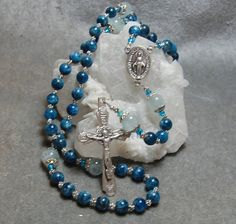 Apatite and Aquamarine Rosary Cable Silver by HeartFeltRosaries