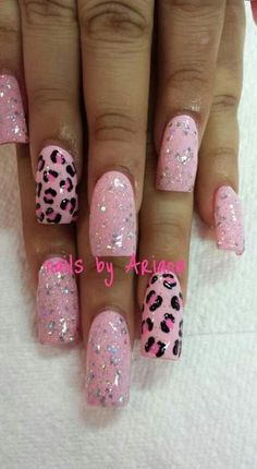 Pink polish is undoubtedly one of the most cute and girly option for manicure. Especially our days when baby pink nails decorated with rhinestones, studs French Nails, French Acrylic Nails, Leopard Nail Art, Leopard Print Nails, Leopard Prints, Pink Nails, My Nails, Pink Sparkly Nails, Black Nails