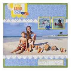 Border Maker-Scallop Stitch: Cheerful Tropical Sun, Sand & Sea Scrapbook Layout Idea