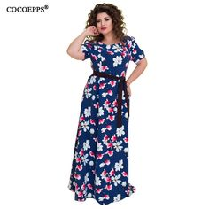 5XL 6XL 2018 summer big size long dress floral print plus size vintage women  dress maxi a47cf6043c8f