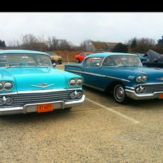 Fraternal twin Chevys at Captree Cars & Coffee