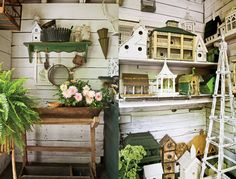 Maybe the white filigree shelf in the basement painted green and use in the granery.