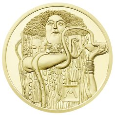 """The 50 Euro Gold Coin Series – """"Klimt and his women"""" issued by the Austrian Mint Commemorating Klimt's 150 th Birth. Austria, 50 Euro, Museum, European History, Gustav Klimt, Pentacle, Gold Coins, Lion Sculpture, Statue"""