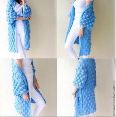 "Купить Кардиган "" Bubbles"" - белый, кардиган, вязаный кардиган, осень 2016, мохеровый кардиган Sweater Jacket, Knit Cardigan, Knit Dress, Vest, Knitting Stitches, Knitting Patterns, Diy Crochet, Long Sweaters, Crochet Clothes"