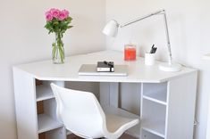 Significance of small corner desk with storage Small Corner Desk IKEA Shelf muebles Significance of small corner desk with storage Ikea Corner Desk, Corner Dresser, White Corner Desk, Small Corner Desk, Corner Furniture, Ikea Desk, Home Office Furniture, Home Office Decor, Furniture Design