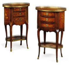 TWO SIMILAR FRENCH GILT-METAL MAHOGANY AND KINGWOOD MOUNTED FLORAL MARQUETRY OCCASIONAL TABLES -  OF TRANSISTIONAL STYLE, EARLY 20TH CENTURY