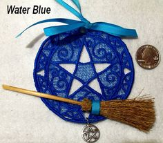 Altar Pentagram Lace Home Protection Ornament Wiccan Pagan Besom Broom Witchcraft Pentagram Fee Shipping