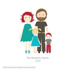 Illustrated Family Portrait...such a cute idea and I could totally design this no prob!
