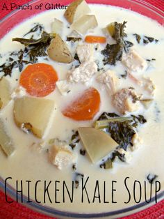 Chicken Kale Soup: A Pinch of Glitter.   An easy Fall soup made in the crockpot!