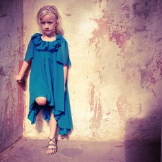 Girls Fall Whimsical Ruffle Aqua Dress by Blinnea on Etsy, $62.00